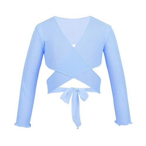 CHICTRY Chaqueta para Ballet Danza Baile Gimnasia Vestido Maillot Cardigan Elegante Bolero Tops Manga Larga Traje de Ballet para Niñas (3 años-12 años) Cielo Azul 7-8 Años