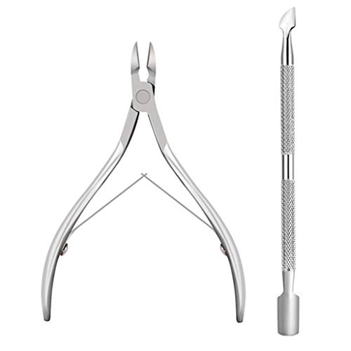 Cuticle Nipper and Pusher, Dead Skin Remover Set, Stainless Steel Cuticle Pusher Trimmer Clipper, Nail Manicure Tool