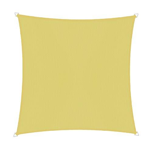 Windhager 10732 Voile d'ombrage carrée 3 x 3 m (cuise) Protection Solaire pour Jardin et terrasse, résistant aux UV et aux intempéries Jaune