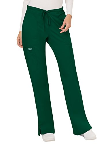 CHEROKEE Women's Mid Rise Moderate Flare Drawstring Pant, Hunter Green, Large