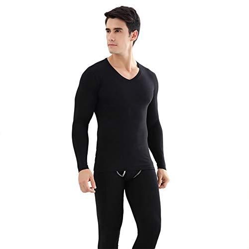 BSOL V-kraag Naadloos Elastisch thermisch ondergoed voor heren, met warme winterkleding, polyestermateriaal voor persoonlijk comfort