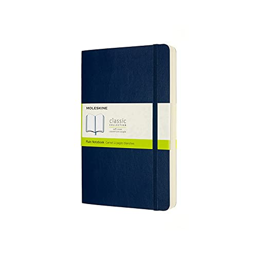 Moleskine - Klassisches Notizbuch, Blanko Seiten, Softcover und elastischer Verschluss, Größe 13 x 21 cm, Farbe saphir blau, 400 Seiten
