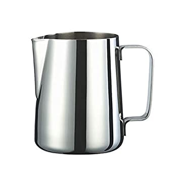 Milk Frothing Pitcher 12oz Espresso Steaming Pitcher Stainless Steel Coffee Cappuccino Latte Art Barista Steam Pitchers milk steaming pitcher for Father s day gifts- Silver