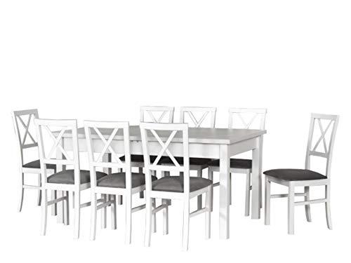 Mirjan24 Esstisch mit 8 Stühlen DM23, Sitzgruppe, Tischgruppe, Esstischgruppe, Esstisch Stuhlset, Esszimmer Set, Esszimmergarnitur, DMXZ (Weiß/Weiß Inari 91)