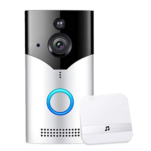 LTJX Video Timbre, Videoportero Doorbell 720P HD WiFi Comunicación Bidireccional, Detección de Movimiento PIR Gran Angular de 166° Visión Nocturna ICR, Control por App