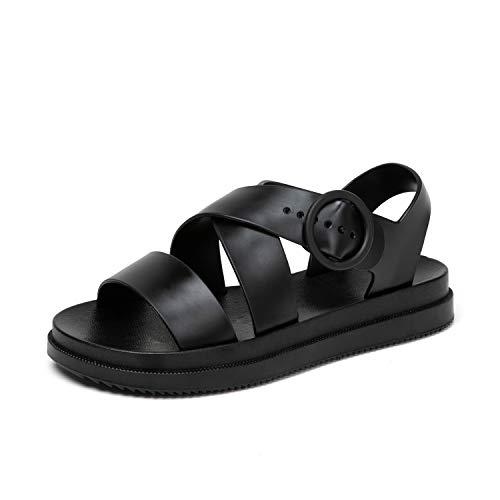 sandali jelly Sandali Donna Estivi Bassi Sandals Open Toe Scarpe Acqua Jelly Scarpe Nero 38
