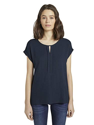 TOM TAILOR Damen T-Shirts/Tops T-Shirt aus Chiffon Sky Captain Blue,XL