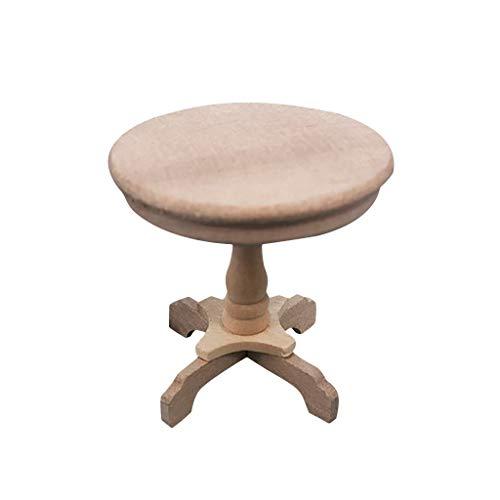 Elaco 1:14 Mini Doll House Coffee Table Round Table Dollhouse Furniture Miniature Wooden Round Side Table Kids Pretend Play Toy -  Elaco1