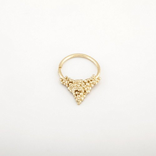 Gold Septum Ring, 14K Solid Gold Triangle Nose Piercing, Fits Cartilage, Helix, Rook, 20 Gauge, Handmade Designer Jewelry