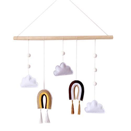 Maritown Wolke Regenbogen hängende Dekoration mit Holzstäbchen Decke Mobile Ornamente für Kinder Spielen Zelt Schlafzimmer Schrankbett Baldachin Wand Dekoration Dekor Kind Spielhaus Spielzeug