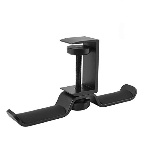 Soporte Cascos, Diseño de Gancho Doble (360° Ajustable, Universal) Soporte Auriculares de Metal, Fácil de Instalar, Estable, Protección de Silicona, Mantenga el Escritorio Ordenado (Negro)