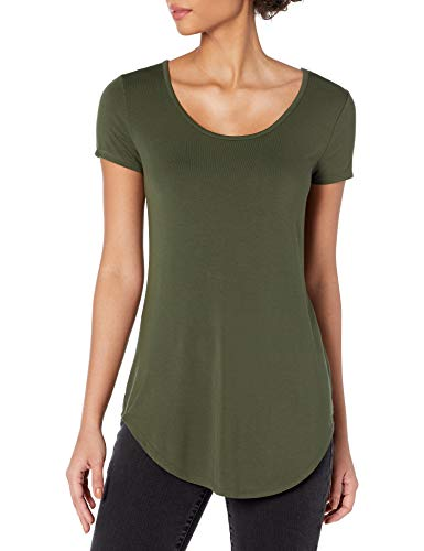 Amazon Brand - Daily Ritual Women's Jersey Short-Sleeve Scoop-Neck Longline T-Shirt, forest green, Large