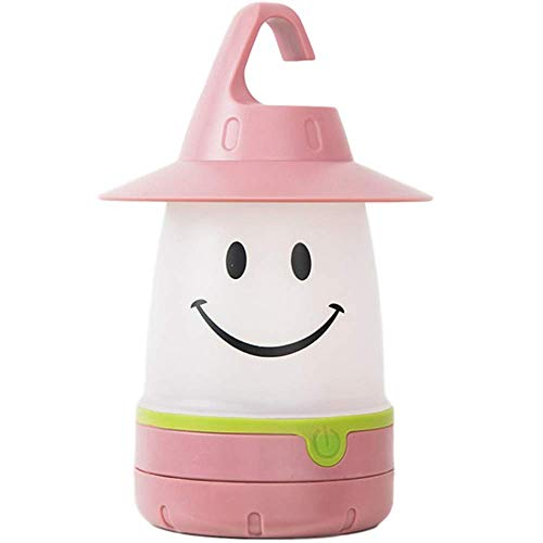 Smiling Face Lamp Energy-Saving Night Light, Portable LED Bedroom Special Baby Tent Can Hang Light, for Indoor Outdoor Decorate Kids Room,Pink