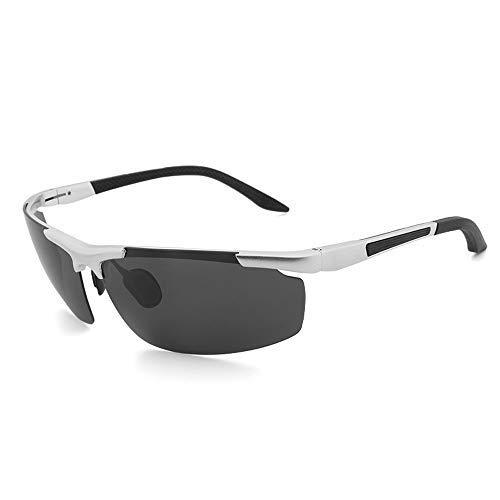 Yeeseu Gafas de sol deportivas gafas de sol polarizadas pesca al aire libre a caballo de conducción clásico de aluminio de la manera de magnesio gafas de sol gafas de moda (Color: Gris, Tamaño: Libre)