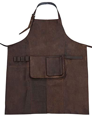 Gusti Cuir studio Sander tablier en cuir tenue de travail unisexe tablier de cuisine homme femme cuir de buffle marron foncé 2G27-L-20-9wp