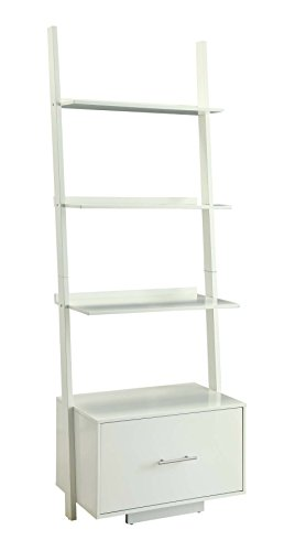 Convenience Concepts American Heritage Ladder Bookcase with File Drawer, White
