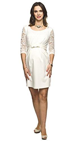 Elegantes und bequemes Umstandskleid, Brautkleid, Hochzeitskleid für Schwangere Modell: Amber, Creme, M