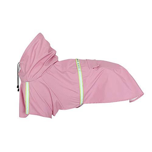 BLEVET Hoodie Hund Regenmantel mit Reflektierende Streifen Sicherheitsstreifen Regenmantel für große/mittlere/kleine Hund Jacke MZ058 (L, Pink)