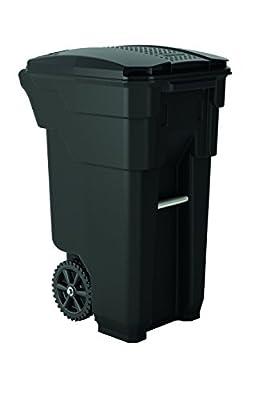 "Suncast Commercial BMTCW32 Wheeled Trash Can, 36.5"" Height, 20.25"" Width, 26.5"" Length, 32 gal Capacity, Polyethylene, Gray"