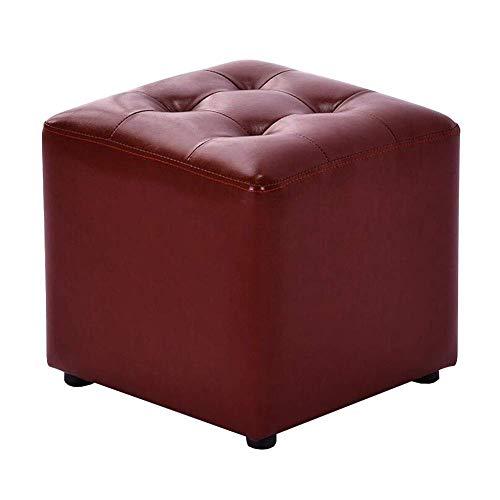 GPWDSN vierkante poef afdekking Ottoman PU-zitje sofa kruk mode eenvoudige schoen bank duurzaam houten frame, 5 kleuren