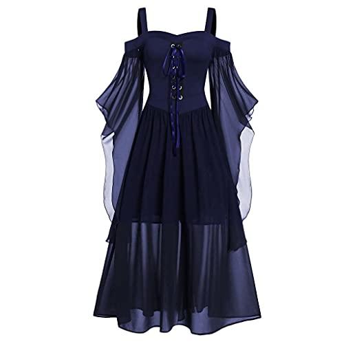 Darringls Halloween Kostüm Damen Übergroßes Mesh Mittelalter Kleid Gothic Maxikleid Schnürkleid mit Schmetterlingsärmeln Renaissance Cosplay...
