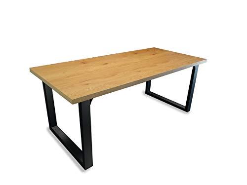 INSPIRER STUDIO Roman Extendible Dining Table Pedestal Table MDF High-Gloss White (Oak Grain Finish)