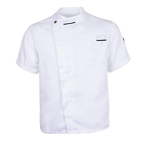 Sharplace Atmungsaktiv Kochjacke Bäckerjacke M-3XL, Kurzarm Chef Arbeitsjacke Arbeitskleidung Gastro Kochkleidung für Herren und Damen - Weiß, 2XL