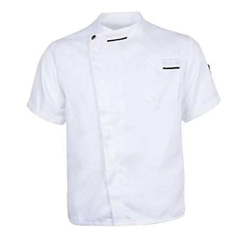 F Fityle Chaqueta Unisex Solid Coat Hotel Waiter Uniforme Cocinero Tela Duradera Cocina Vestuario Laboral