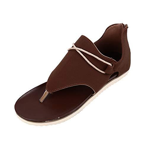 Yvelands Femmes Sandales Plates Bout Ouvert Bohème Sandales Compensées Mi-compensées, Espadrilles Baskets Chaussures De Sport Pantoufles à Talons Plats Vacances été(AH)