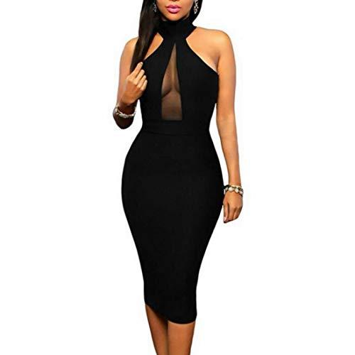 Bademode Ärmelloses Neckholder-Kleid mit V-Ausschnitt Figurbetontes Midi-Kleid Party Dres s Women's Bikinis (Farbe : Schwarz, Size : L)