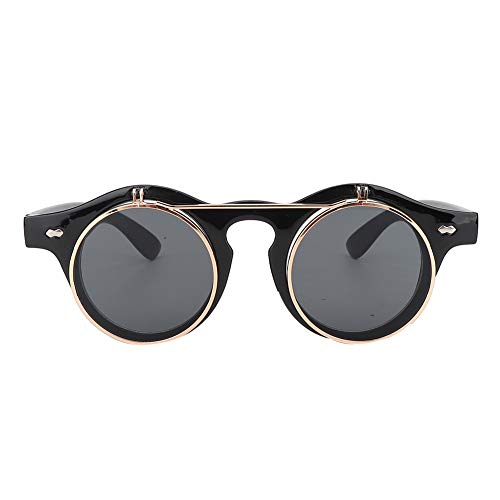 Gafas de sol con montura redonda, estilo punk vintage con personalidad, gafas con tapa, plástico + metal, duraderas y resistentes, para mujeres(Negro)