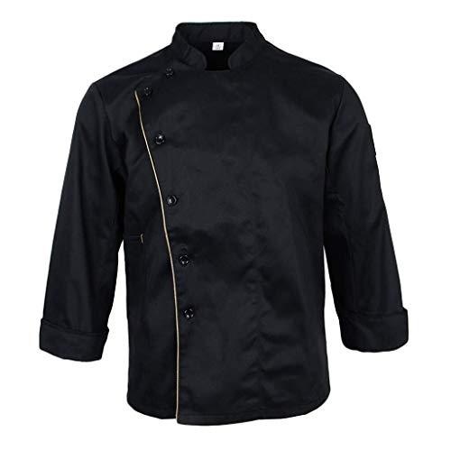 HX fashion Herren Damen Kochjacke Berufsbekleidung Langarm Koch Bäckerjacke Küche Kochkleidung Bequeme Größen Gastronomiebedarf Jacke Mantel Hemd Oberteile (Color : Schwarz, Einheitsgröße : XL)