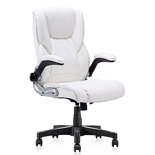 KERMS Home Office Desk Chair, PU Leather Ergonomic Executive Computer Chair with Flip up Arms and Adjustable Height (White)