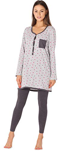Be Mammy Damen Langarm Pyjama mit Stillfunktion BE20-178 (Melange-Punkten-Graphite, XL)