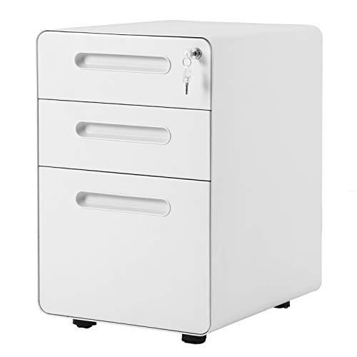 Flieks tragbare Stahl Rollcontainer, Rolling Kabinett mit abschließbaren Schubladen,Schrankkorpus Vormontiert, für Hause & Büro (Weiß_A)