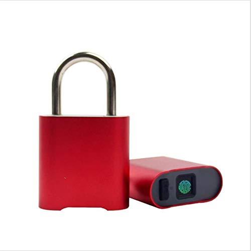 YANG WU Candado electrónico de Huellas Dactilares, candado electrónico Inteligente portátil de Huellas Dactilares, desbloqueo con una Sola tecla, candado antirrobo Recargable por USB