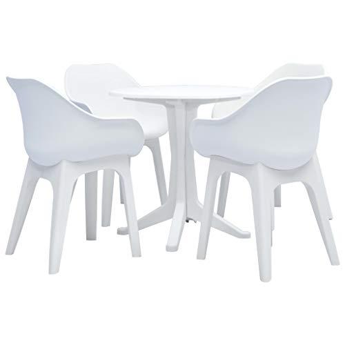 Festnight Conjunto de Muebles de Jardín de Mesa y Sillas para 4 Personas Plástico Blanco
