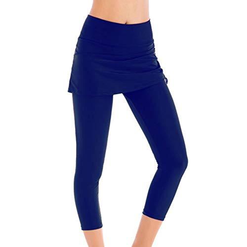 Lu's Chic Women's High Waisted Swim Bottom Swim Pants Capri Long Board Shorts Tight Drawstring Slimming Leggings Blue XX-Large