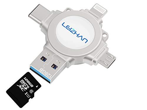 leizhan Memoria USB 3.0 128GB,4 en 1 Lector de Tarjetas de Memoria para iPhone iPad Samsung Huawei Android PC