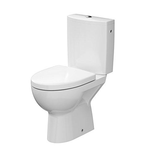 Domino 81428 WC sur pied en céramique avec écoulement vertical et système dabaissement automatique