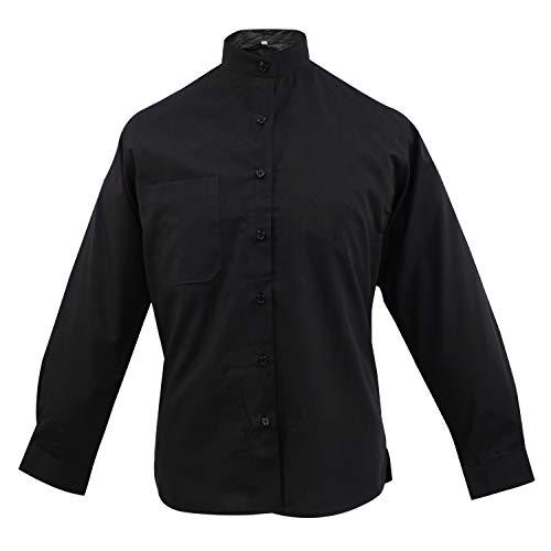 MISEMIYA - Camisa Uniforme Camarera SEÑORA Cuello Mao Mangas LARGAS MESERO DEPENDIENTA Barman COCTELERA PROMOTRORAS - Ref.8271 - XS, Negro