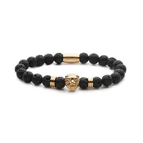 Obelizk Lion Armband für Männer | Löwenkopf Perlen-Armband | Geschenk Schmuck-Box + Luxury Herren Accessories Guide (Gold Lion Black Lava)