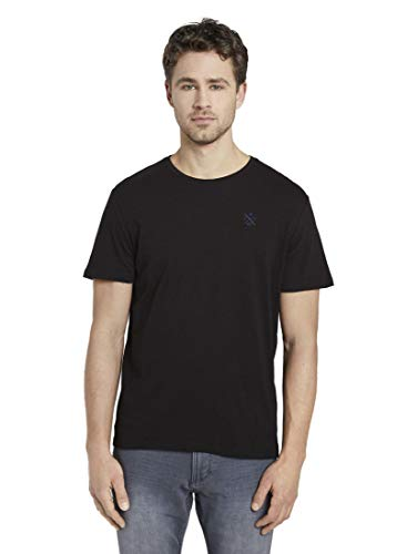Tom Tailor Basic T-Shirt, 29999/Nero, S Uomo