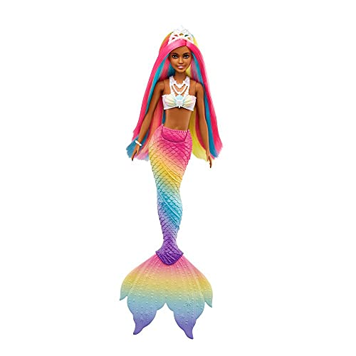 Barbie GTF90 - Dreamtopia Rainbow Magic Meerjungfrauen Puppe mit Regenbogenhaaren und Farbwechsel-Funktion, die durch Wasser aktiviert wird, Geschenk für Kinder von 3 bis 7 Jahren