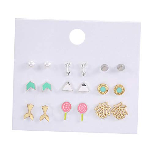 Baosity Múltiples Pendientes de Botón de Oreja Pequeños para Mujer Elegante para Mujer, Conjunto de Joyas de Boda - 9 Tipo de par 3, Individual
