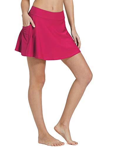 BALEAF Women's High Waisted Swim Skirt Bikini Tankini Bottom with Side Pocket Rose Red Size XL