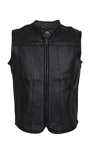 """IGUANA CUSTOM CLOTHES Chaleco """"Ruta"""" de piel de cuero negro (XL)"""