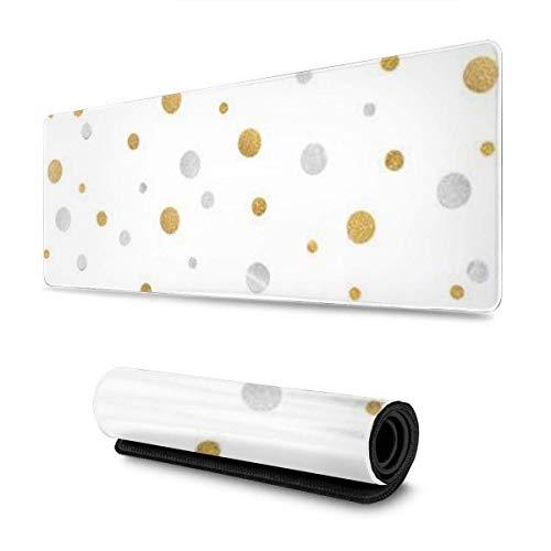 Mouse Pad Gold Und Silber Glitter Konfetti Papier Geschnitten Auf Weißem Hintergrund Isolierte Schutz Tastatur 30X80Cm Büro Langlebige Rutschfeste Mauspad Schreibtisch Schreibtisc