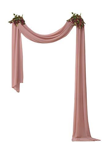 Socomi 2 Panels Dusty Rose Chiffon Wedding Arch Drapes 6 Yards Solid Wedding Arch Curtains for Backdrop Curtain Decorations
