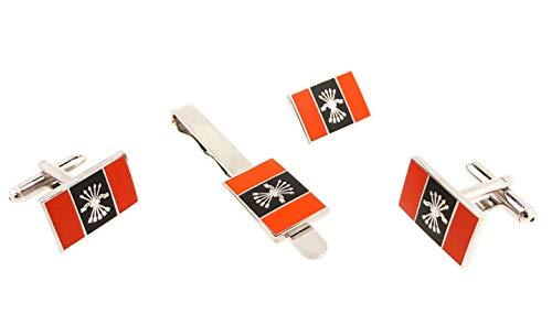 Gemelolandia | Pack Completo de Gemelos, Pasador de Corbata y Pin de Traje Bandera con Emblema Falange | Complementos de Moda Exclusivos Para Hombres y Niños | Detalles Únicos Para Regalos Originales